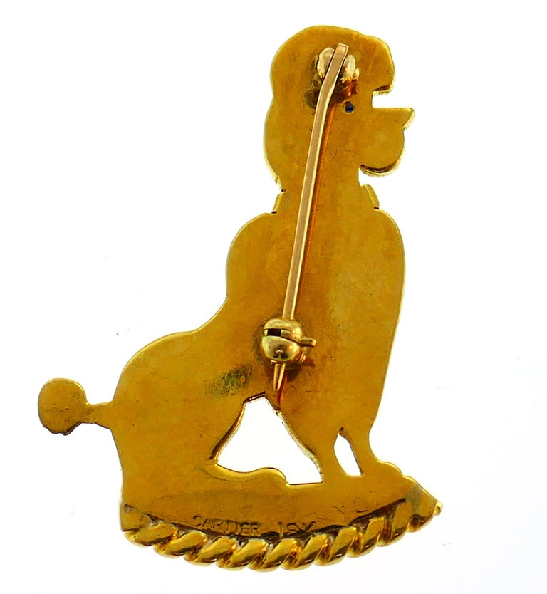 Pair of Cartier Diamond Yellow Gold Poodle Clip Pin Brooch, 1950s In Good Condition For Sale In Beverly Hills, CA