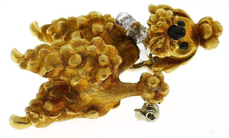 Women's or Men's Cartier Diamond Yellow Gold Poodle Clip Pin Brooch Pair, 1950s For Sale