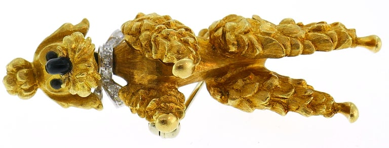 Cartier Diamond Yellow Gold Poodle Clip Pin Brooch Pair, 1950s For Sale 1