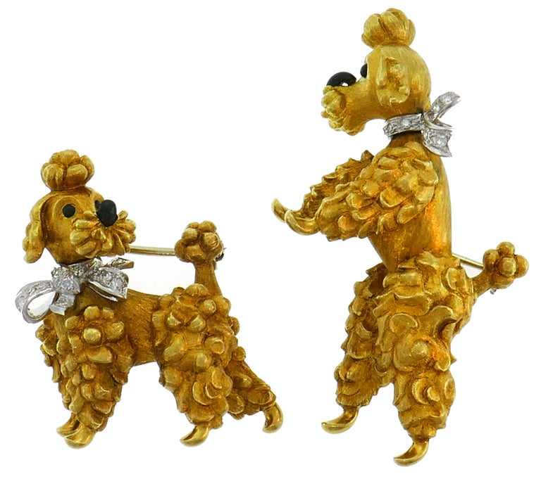 Cartier Diamond Yellow Gold Poodle Clip Pin Brooch Pair, 1950s For Sale