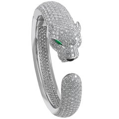 Cartier Diamond, Emerald, Onyx Panther Bangle