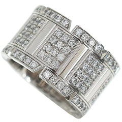 Cartier Diamonds 18 Karat White Gold Tank Française Ring