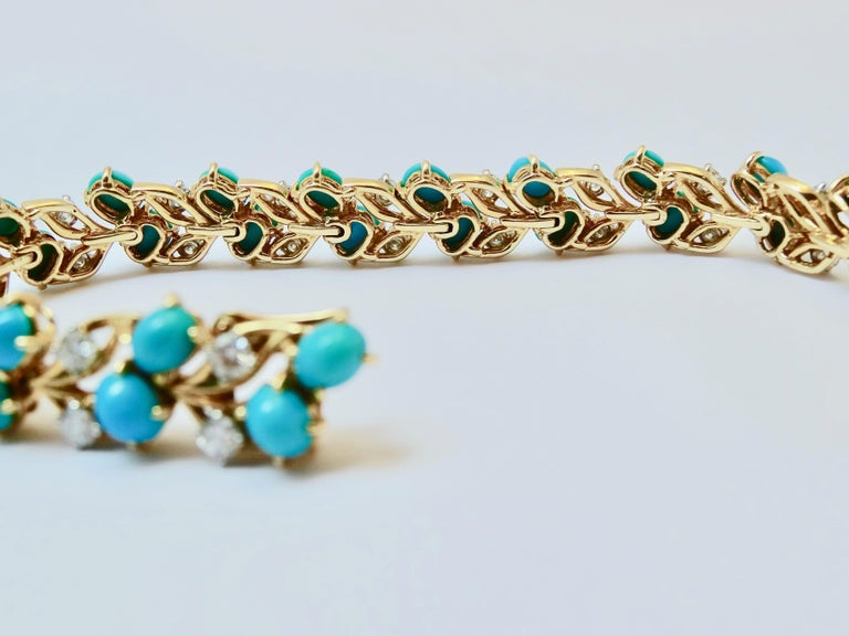 Cartier Diamonds and Turquoises Bracelet In Excellent Condition For Sale In Monte Carlo, MC