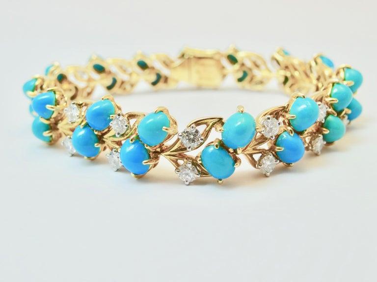 Cartier Diamonds and Turquoises Bracelet For Sale 1