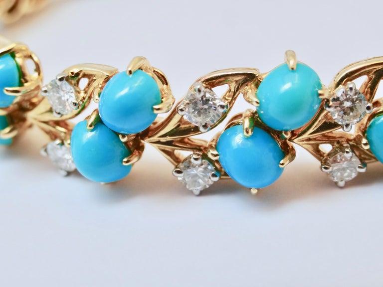 Cartier Diamonds and Turquoises Bracelet For Sale 2