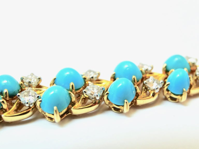 Cartier Diamonds and Turquoises Bracelet For Sale 3