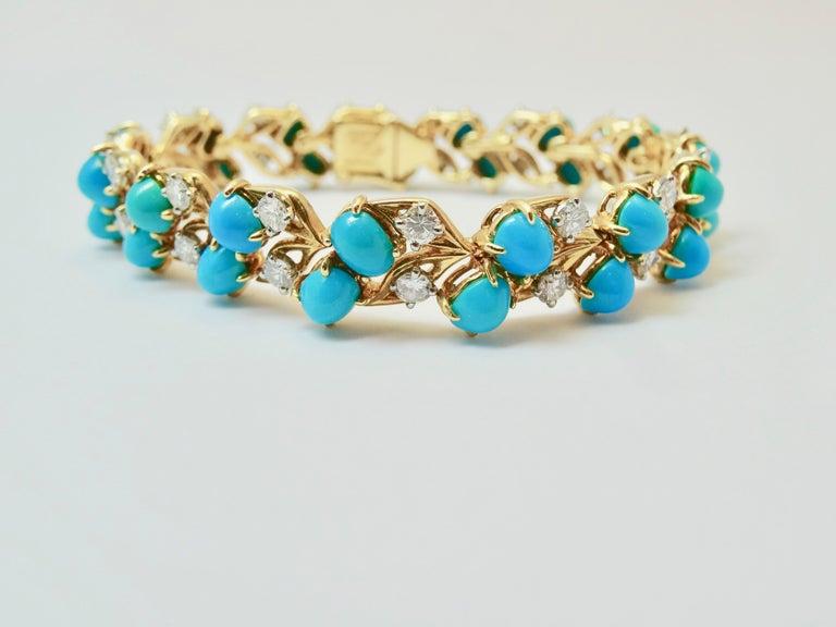Cartier Diamonds and Turquoises Bracelet For Sale 4