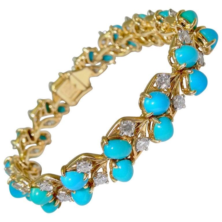 Cartier Diamonds and Turquoises Bracelet For Sale