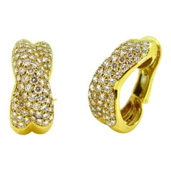 Cartier Diamonds Crossover Yellow Gold Earrings