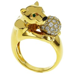 Cartier Diamonds Emerald Onyx 18 Karat Yellow Gold Panthere Vedra Ring