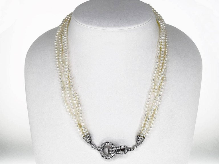Cartier Diamonds Pearl 18 Karat White Gold Agrafe Necklace In Good Condition For Sale In Tokyo, JP