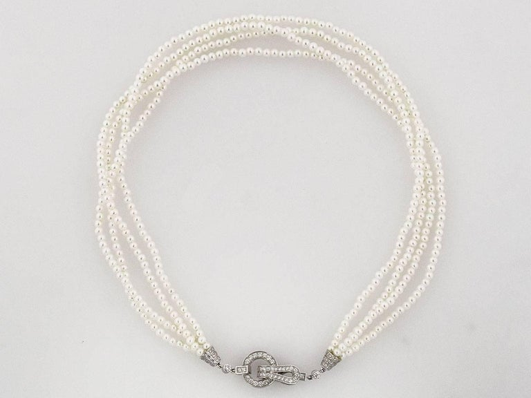 Cartier Diamonds Pearl 18 Karat White Gold Agrafe Necklace For Sale 3