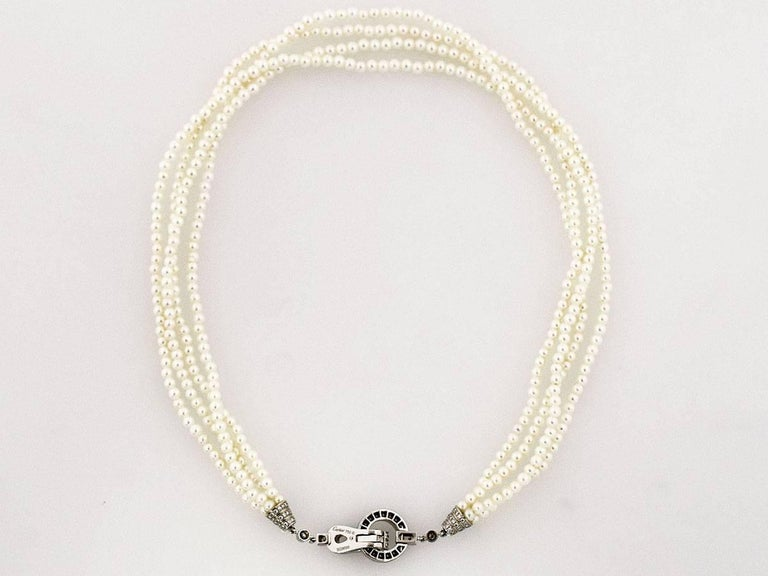 Cartier Diamonds Pearl 18 Karat White Gold Agrafe Necklace For Sale 4