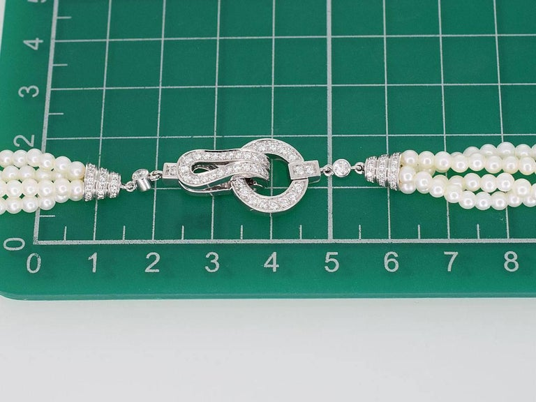 Cartier Diamonds Pearl 18 Karat White Gold Agrafe Necklace For Sale 5