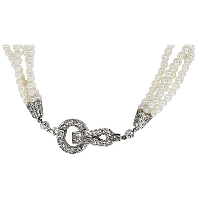 Cartier Diamonds Pearl 18 Karat White Gold Agrafe Necklace For Sale