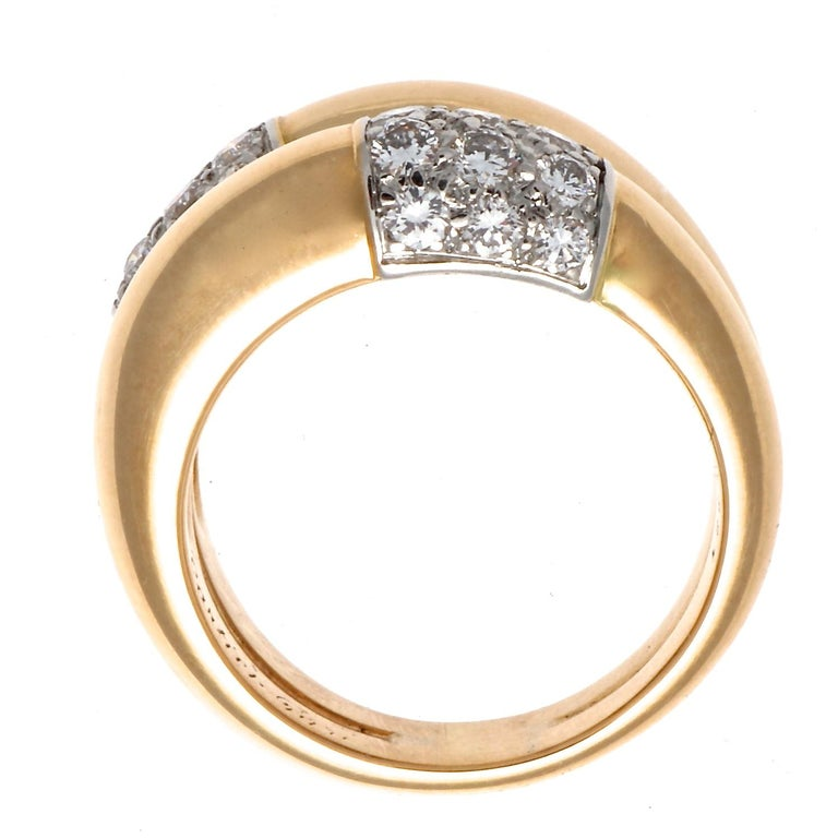 Cartier Double Banded Diamond Gold Ring In Excellent Condition For Sale In Beverly Hills, CA