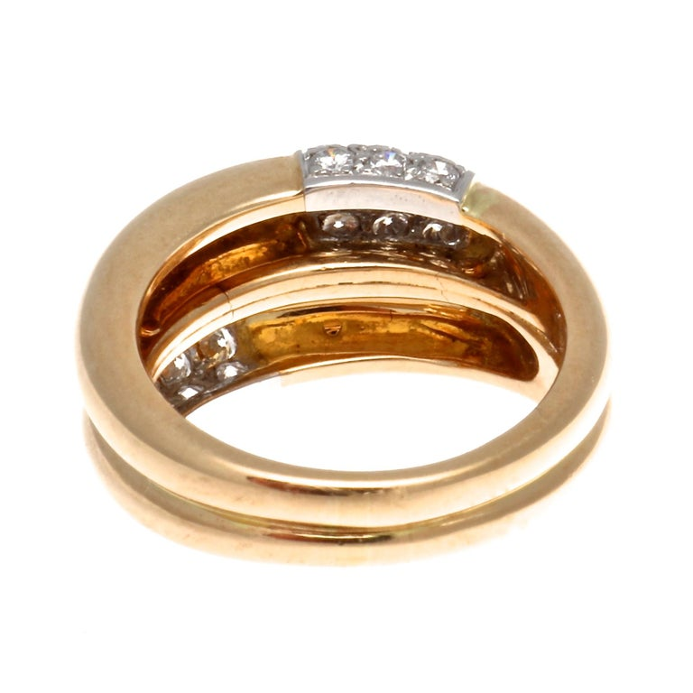 Women's Cartier Double Banded Diamond Gold Ring For Sale