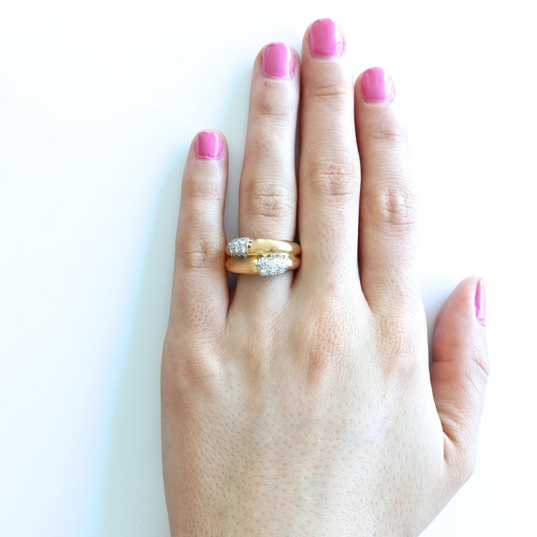 Cartier Double Banded Diamond Gold Ring For Sale 1
