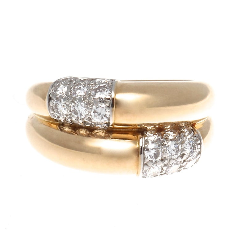 Cartier Double Banded Diamond Gold Ring For Sale