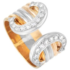 Cartier Double C 18 Karat Tricolor Diamond Ring