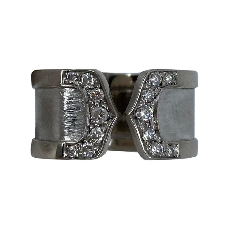 Cartier Double C 18 Karat White Gold Brushed Diamond Band Ring