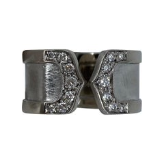 Cartier Double C 18 Karat White Gold Brushed Diamond Band Ring