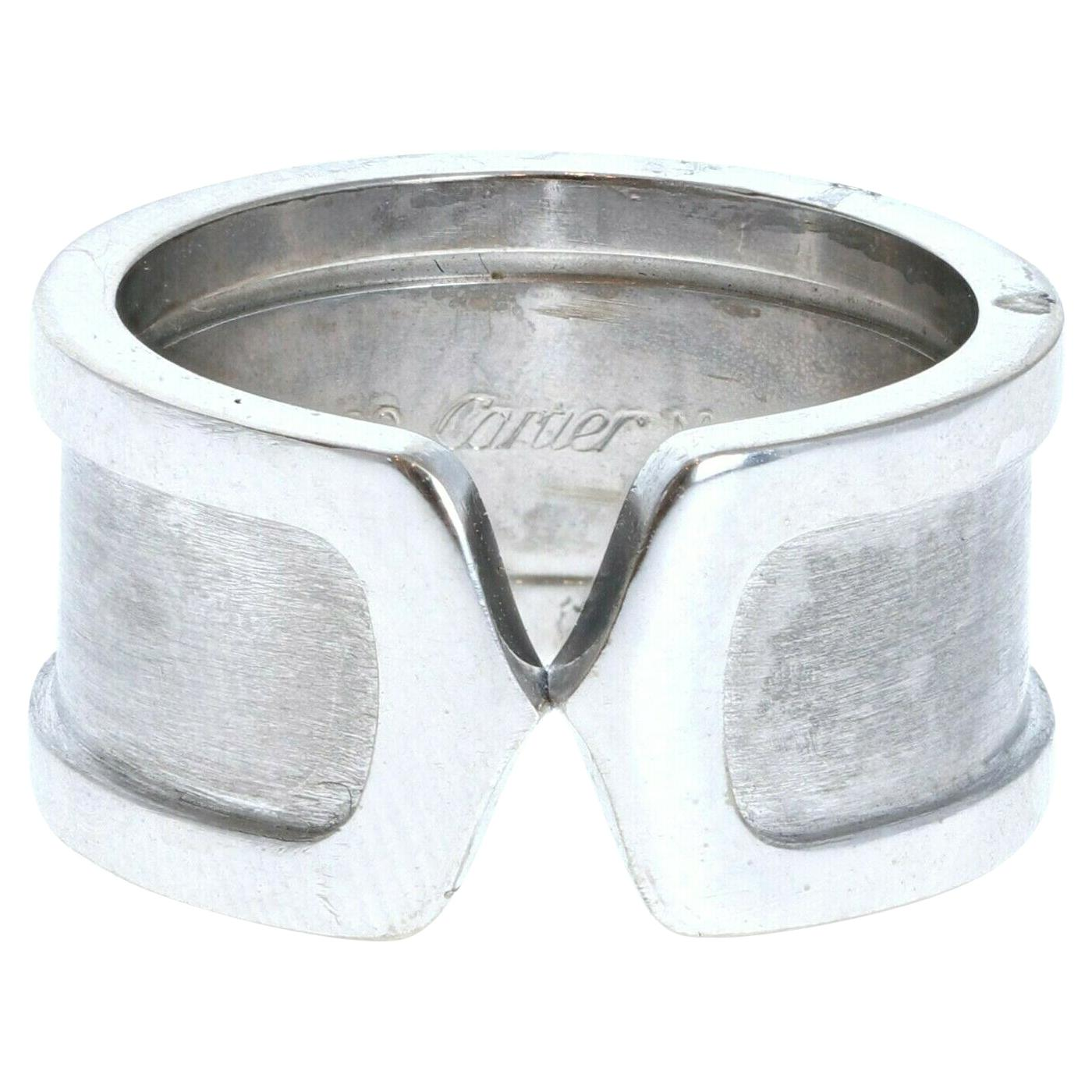 Cartier Double C 18K White Gold Ring