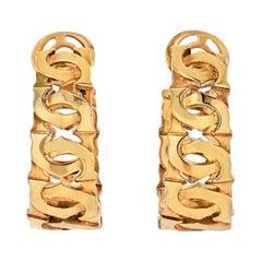 Cartier Double C 18k Yellow Gold Double C Motif Hoop Earrings