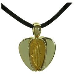 Cartier Double C Apple Heart Yellow Gold Pendant Black Cord Necklace