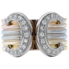 Cartier Double C Diamond 18 Karat Gold Wide Cuff Band Ring 0.24 Carat