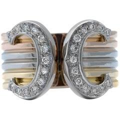 Cartier Double C Diamond 18 Karat Gold Wide Cuff Band Ring, US, 6.5 0.24 Carat