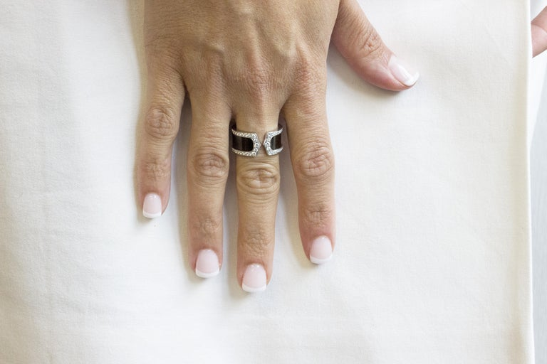 Cartier Double C Diamond and Enamel Ring For Sale 4