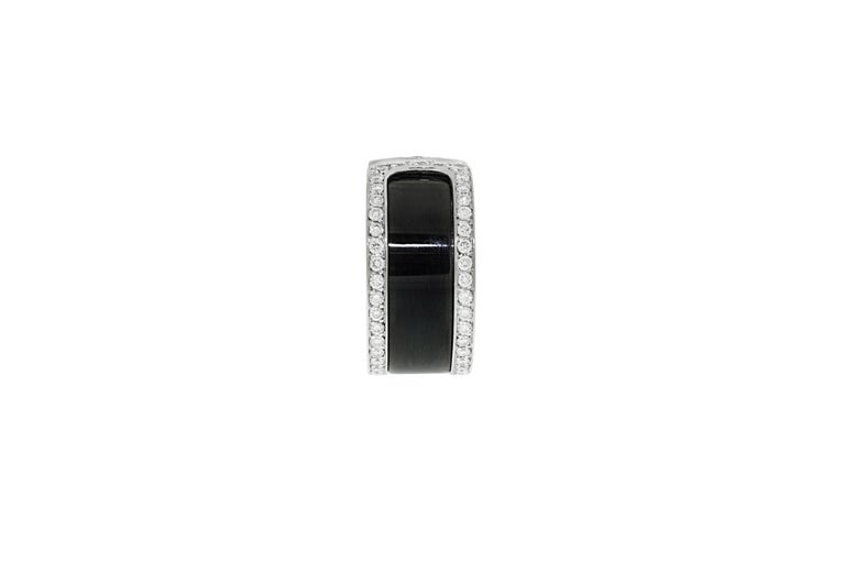 Modern Cartier Double C Diamond and Enamel Ring For Sale
