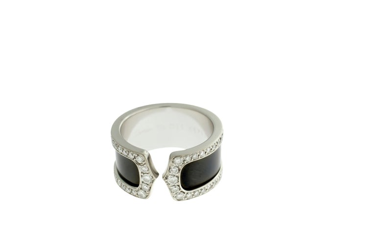 Women's or Men's Cartier Double C Diamond and Enamel Ring For Sale