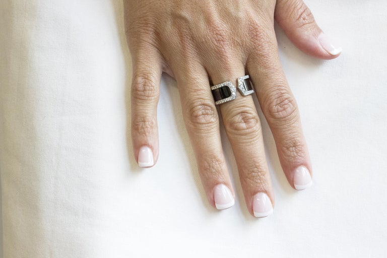 Cartier Double C Diamond and Enamel Ring For Sale 3