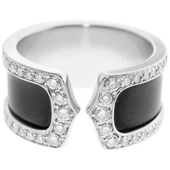 Cartier Double C Diamond and Enamel Ring
