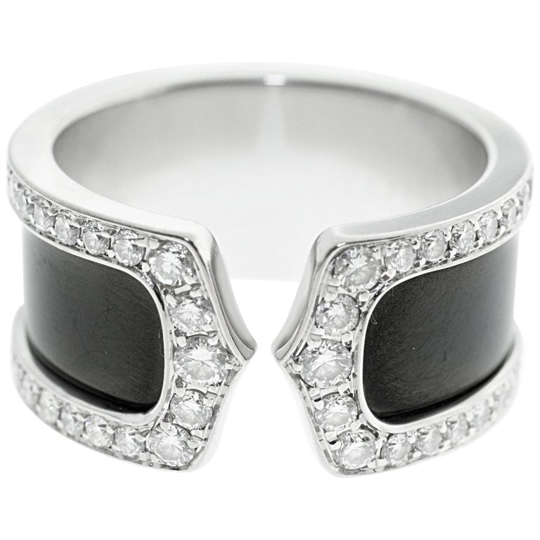 Cartier Double C Diamond and Enamel Ring For Sale