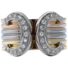 Cartier Double C Diamond Tri-Color 18 Karat Gold Wide Cuff Ring