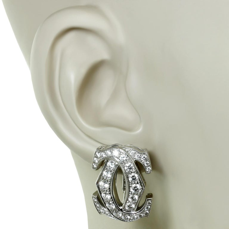Cartier Double C Diamond White Gold Earrings In Excellent Condition For Sale In New York, NY