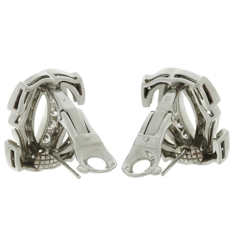 Women's Cartier Double C Diamond White Gold Earrings For Sale