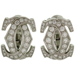 Cartier Double C Diamond White Gold Earrings