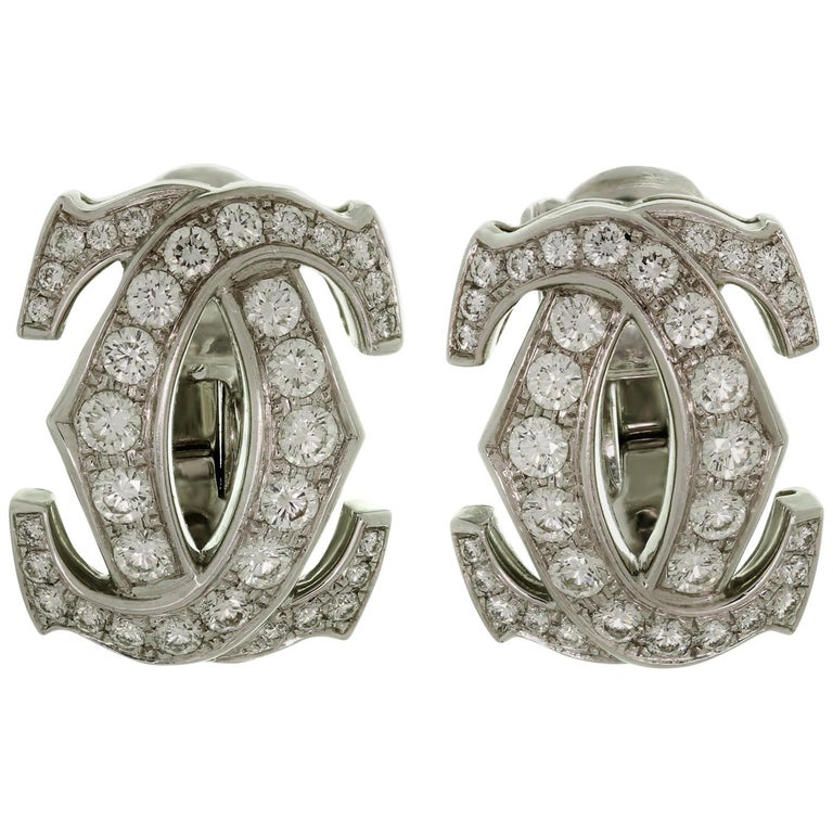 Cartier Double C Diamond White Gold Earrings For Sale