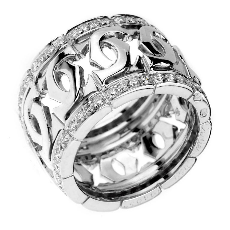 Cartier Double C Diamond White Gold Ring