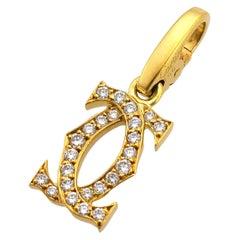 Cartier Double C Diamonds 18 Karat Yellow Gold 2C Charm
