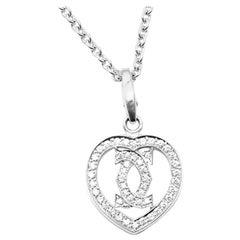Cartier Double C Heart Diamond White Gold Pendant Necklace