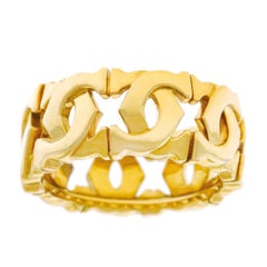 Cartier Double C Logo Motif Gold Ring