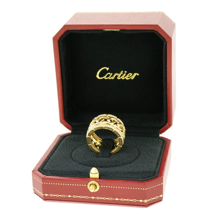 Cartier Signature Double C's Diamond Set Gold Ring Size 9 1/2 For Sale 2