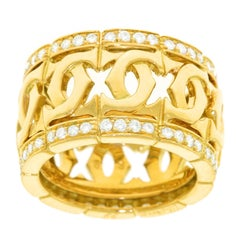 Cartier Double C's Diamond Set Gold Ring