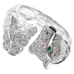 Cartier Double Panther Panthere Diamond Emerald Onyx White Gold Ring