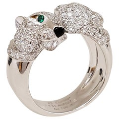 Cartier Double Panthere Gold Diamond and Emerald Ring